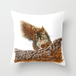 Cheeky the Red Squirrel by Teresa Thompson Throw Pillow
