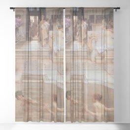 A Favourite Custom 1909 by Sir Lawrence Alma Tadema | Reproduction Sheer Curtain