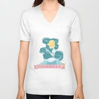 cinderella V-neck T-shirts featuring Cinderella by LindseyCowley