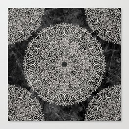 MANDALA ON BLACK MARBLE Canvas Print