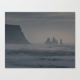 Rock formations and the angry see, Iceland Canvas Print