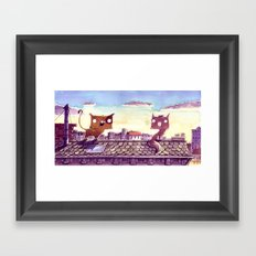 Cats on the roof Framed Art Print