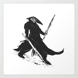 Samurai skull - japanese evil - black and white - fighter illustration - grim reaper cartoon Art Print