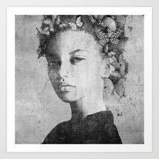 PORTRAIT (Woman with butterflies) Art Print