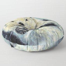 Sea otter painting Floor Pillow