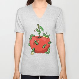 Funny worms in the apple  Unisex V-Neck