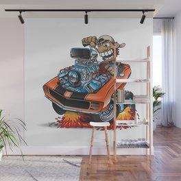 Classic '69 American Muscle Car Cartoon Wall Mural
