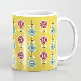 Scandinavian inspired flower pattern - yellow background Coffee Mug