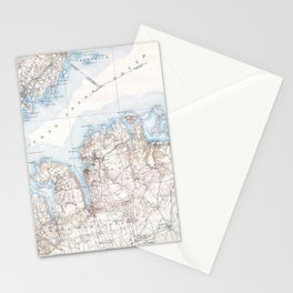 Vintage Oyster Bay Long Island New York Map Stationery Cards