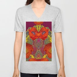 Modern Art Nouveau Orange-Burgundy  Poppy Flowers Unisex V-Neck