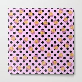 Sweet Pink Cupcakes Picks Dots Metal Print
