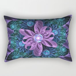 Bejeweled Butterfly Lily of Ultra-Violet Turquoise Rectangular Pillow