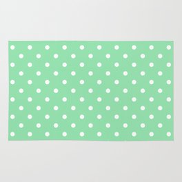 Mint Green with White Polka Dots Rug