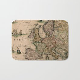 Antique Map Design Bath Mat