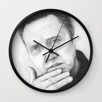 christopher walken Wall Clocks featuring Christopher Walken Portrait by Olechka