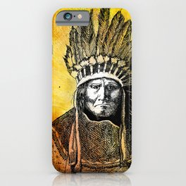 Warm Color Portrait of Geronimo in Headdress iPhone Case
