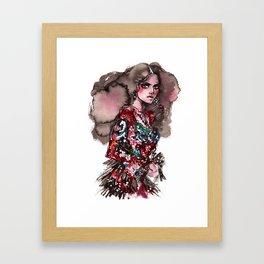 Fashion illustration. Model in a lace dress Framed Art Print