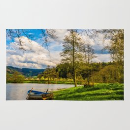 Rowboat on Lake Gengenbach Germany Rug