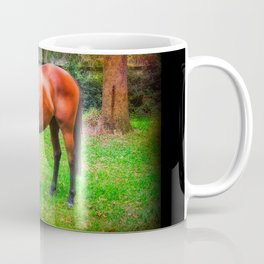 Brown horse grazing Coffee Mug