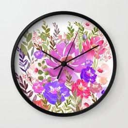 Summer Garden with Wild Flowers Wall Clock