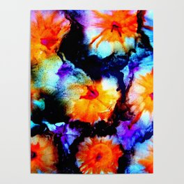 Colorful Abstract Flower Painting Orange Purple Black Poster