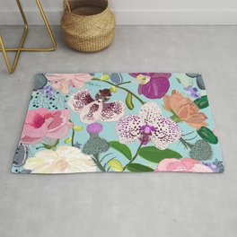 Orchid, succulent and roses colorful pattern Rug