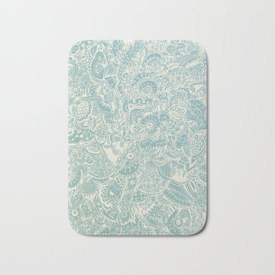 Detailed rectangle, light blue Bath Mat