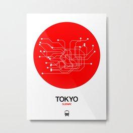 Tokyo Red Subway Map Metal Print