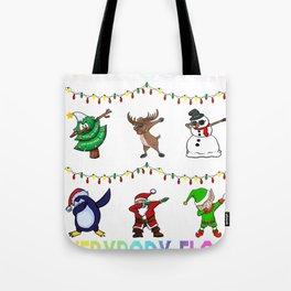Here Comes Everybody Floss Like a Boss Santa friends Tote Bag