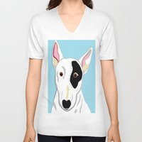 bull terrier V-neck T-shirts featuring Bull Terrier by EloiseArt