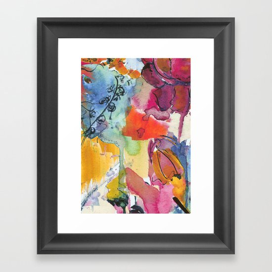 Abstract floral watercolour Framed Art Print
