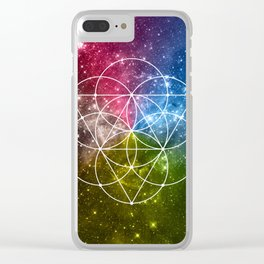 Seed of Life with Triangles - Sacred Geometry - Rainbow Colors - Galaxy Art - Universe - Yoga - Clear iPhone Case