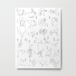 Blind Contour Alphabet Metal Print