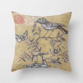 Vintage Birds and Bugs Throw Pillow