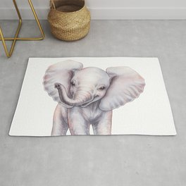 Elephant Baby Watercolor, Baby Animals by lanakat Rug