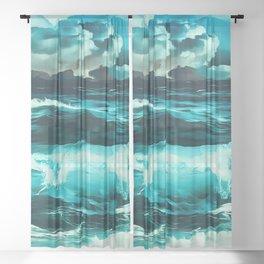 stormy sea waves reachb Sheer Curtain