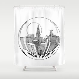 THE CITY of New York in a Suspended Bowl . Artwork Shower Curtain