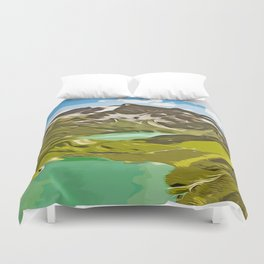 alpine mountain view vector art Duvet Cover