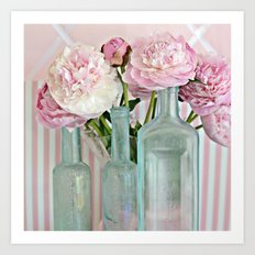 Peonies Shabby Chic Cottage Pink Aqua Peony Bottles Art Print Home Decor Art Print