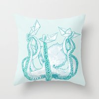 kraken Throw Pillows featuring Kraken by Badaro
