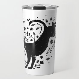 Dogs of Fall - black and white Travel Mug