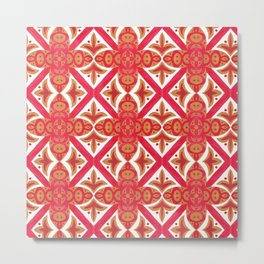 Red orange watercolor traditional italian motif pattern Metal Print