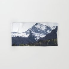 Winter and Spring - green trees and snowy mountains Hand & Bath Towel