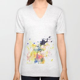 Helicopter Flying into Color Unisex V-Neck