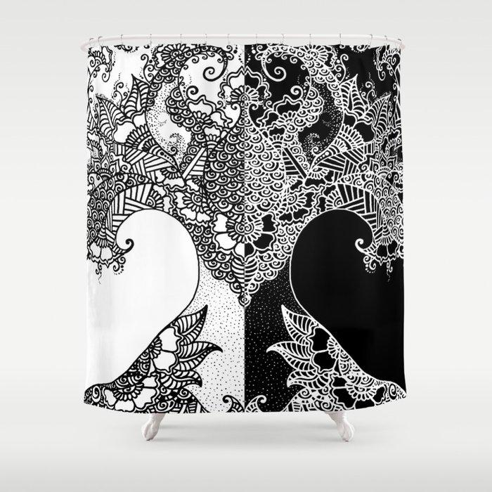 Unity of Halves - Life Tree - Rebirth - White Black Shower Curtain