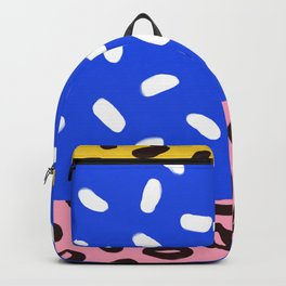 Blue, Pink and Leopard Abstract Print Backpack