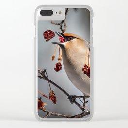 Cedar Waxwing Berry Flip Clear iPhone Case