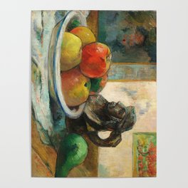 Still Life with Apples, a Pear, and a Ceramic Portrait Jug Poster