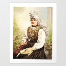 Romanian Gypsy girl Art Print