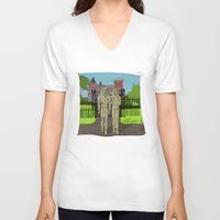 """broadway V-neck T-shirts featuring """"Tourists on Broadway"""" 2013 a.correia by correia creative"""
